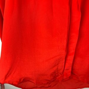 Madewell Tops - Madewell Orange Silk Collarless Blouse Large L